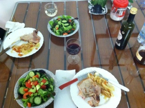 Our First Meal!  We started with the best intentions...
